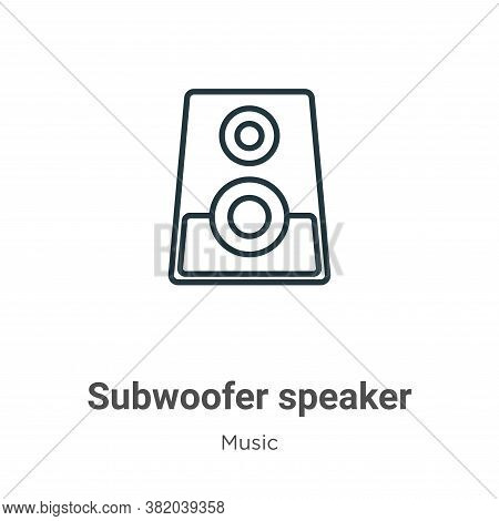 Subwoofer speaker icon isolated on white background from music collection. Subwoofer speaker icon tr