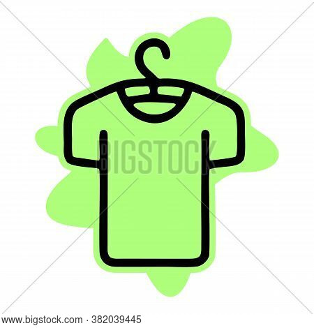 Clothes On Hanger Line Icon, Fashion And Clothing, Tshirt On Hanger Sign, Vector Graphics, A Linear