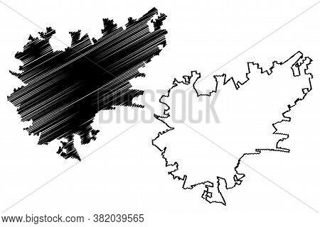 Durango City (united Mexican States, Mexico, Estado Libre Y Soberano De Durango State) Map Vector Il
