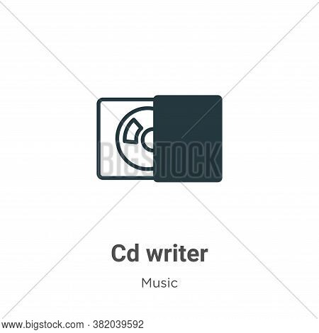 Cd writer icon isolated on white background from music collection. Cd writer icon trendy and modern