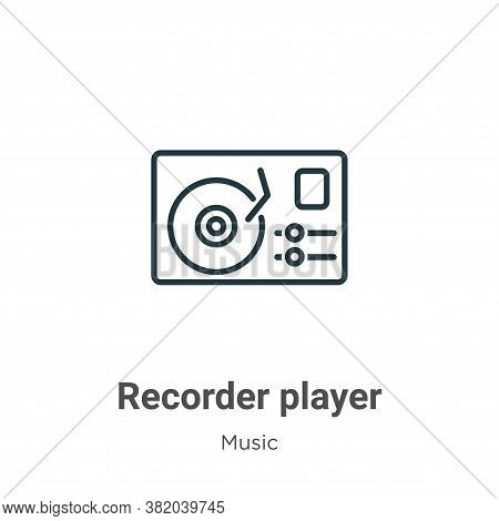 Recorder player icon isolated on white background from music collection. Recorder player icon trendy