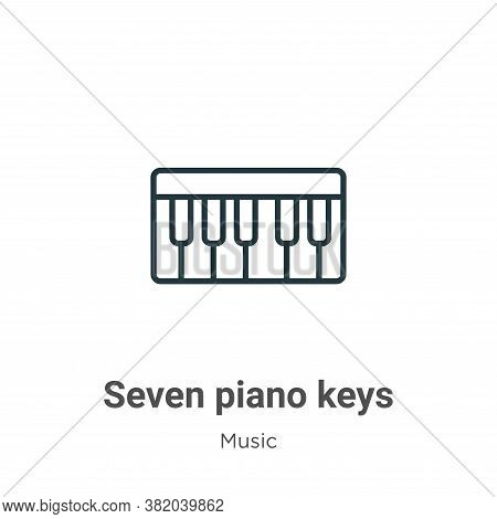 Seven piano keys icon isolated on white background from music collection. Seven piano keys icon tren
