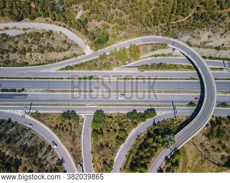 Thessaloniki, Greece Aerial Drone Landscape Of Interchange Traffic On Periferiaki Inner Ring Road. D