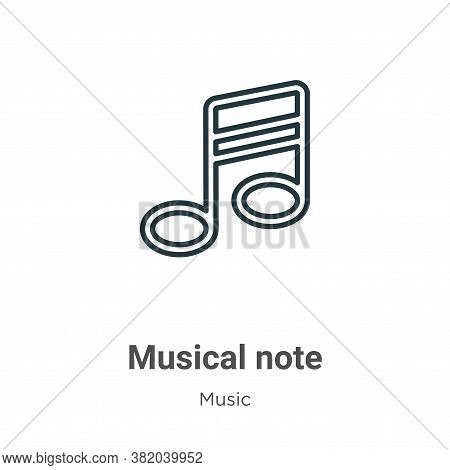 Musical note outline icon isolated on white background from music collection. Musical note outline i