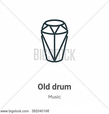 Old drum icon isolated on white background from music collection. Old drum icon trendy and modern Ol