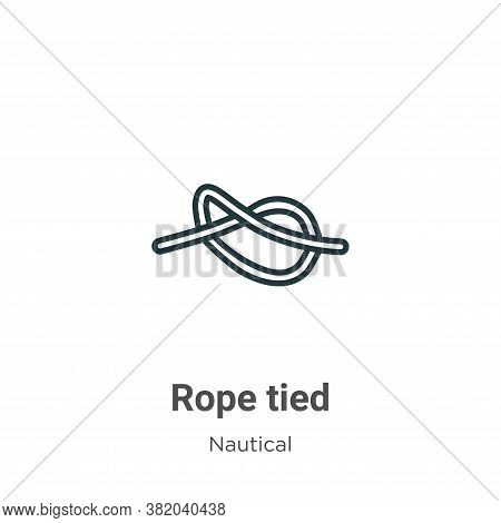 Rope tied icon isolated on white background from nautical collection. Rope tied icon trendy and mode