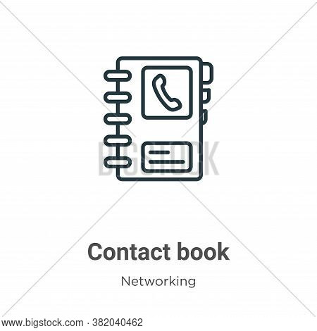 Contact book icon isolated on white background from networking collection. Contact book icon trendy