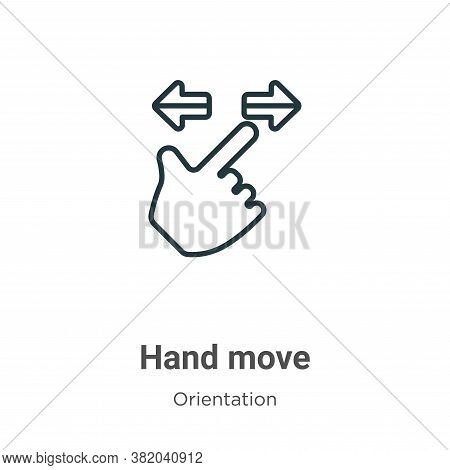 Hand move icon isolated on white background from orientation collection. Hand move icon trendy and m