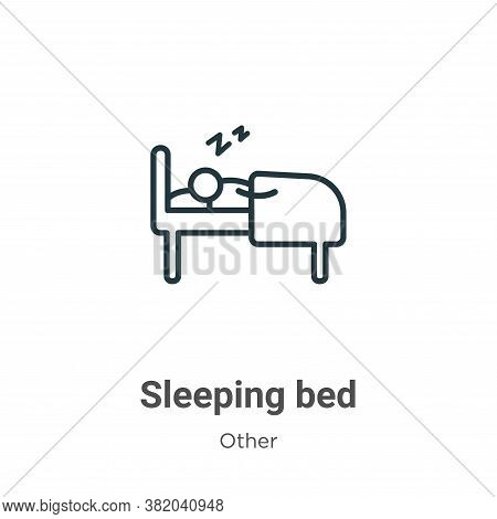 Sleeping bed icon isolated on white background from other collection. Sleeping bed icon trendy and m