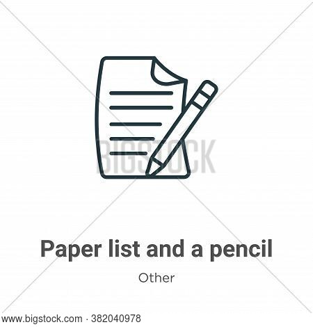Paper list and a pencil icon isolated on white background from other collection. Paper list and a pe