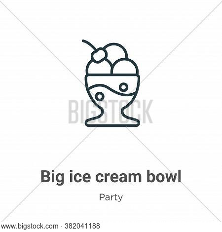 Big ice cream bowl icon isolated on white background from party collection. Big ice cream bowl icon