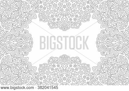 Beautiful Monochrome Linear Illustration For Adult Coloring Book With Abstract Fantasy Rectangle Bor