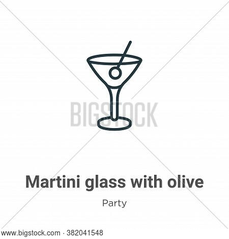 Martini glass with olive icon isolated on white background from party collection. Martini glass with