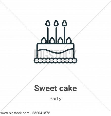 Sweet cake icon isolated on white background from party collection. Sweet cake icon trendy and moder