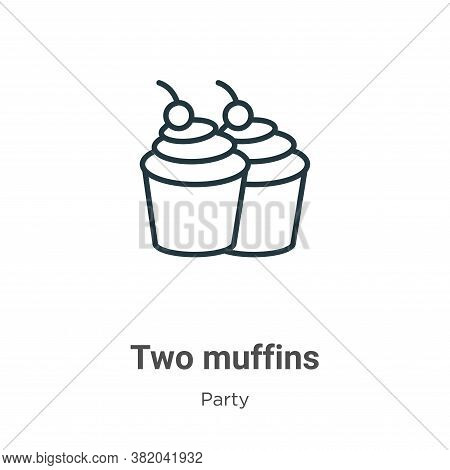 Two muffins icon isolated on white background from party collection. Two muffins icon trendy and mod