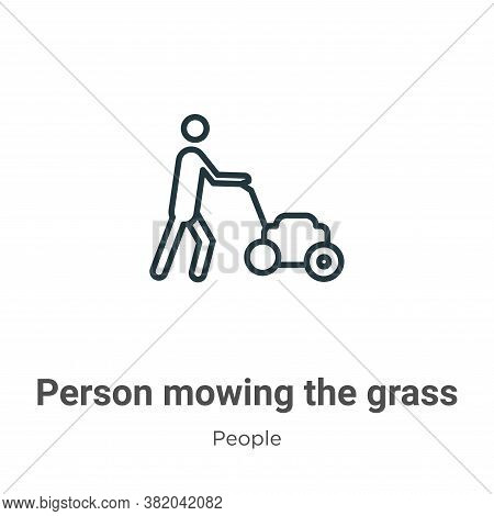 Person mowing the grass icon isolated on white background from people collection. Person mowing the