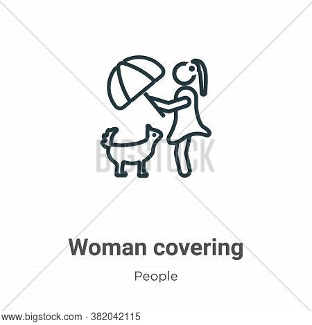 Woman covering icon isolated on white background from people collection. Woman covering icon trendy