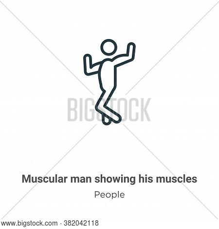 Muscular man showing his muscles icon isolated on white background from people collection. Muscular
