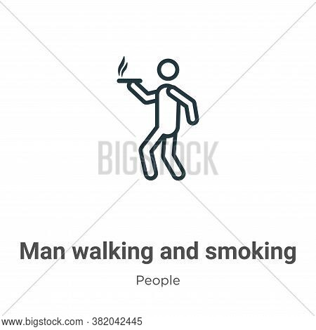 Man walking and smoking icon isolated on white background from people collection. Man walking and sm