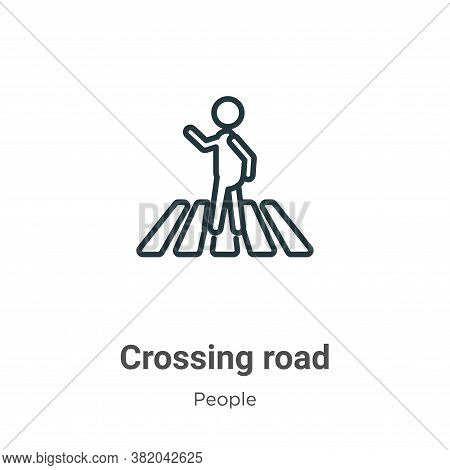 Crossing road icon isolated on white background from people collection. Crossing road icon trendy an