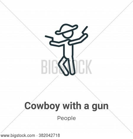 Cowboy with a gun icon isolated on white background from people collection. Cowboy with a gun icon t