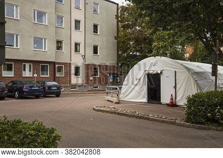 Landscape View Of Temporary Outdoor Medical Center For Taking Covid -19 Test. 08.20.2020. Uppsala. S