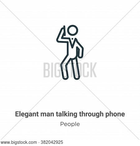 Elegant Man Talking Through Phone Icon From People Collection Isolated On White Background.
