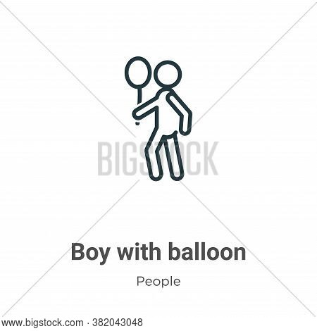 Boy with balloon icon isolated on white background from people collection. Boy with balloon icon tre