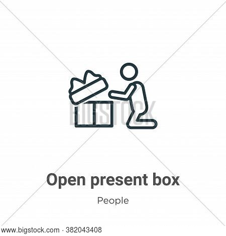Open present box icon isolated on white background from people collection. Open present box icon tre