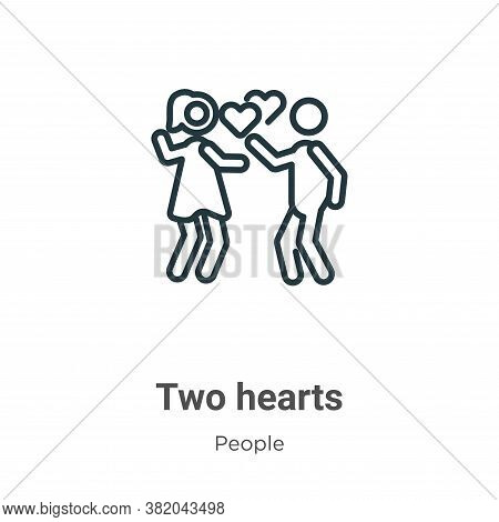 Two hearts icon isolated on white background from people collection. Two hearts icon trendy and mode