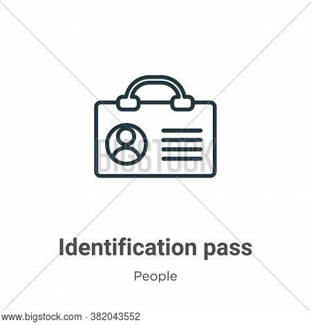 Identification pass icon isolated on white background from people collection. Identification pass ic
