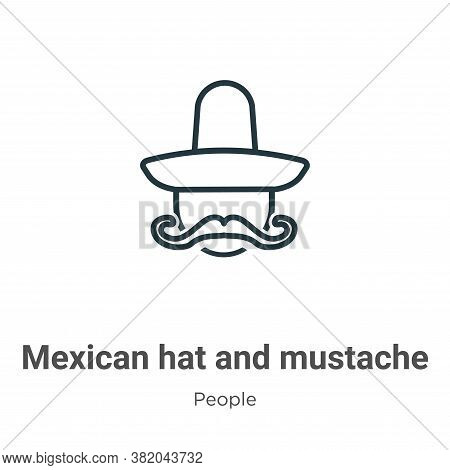 Mexican hat and mustache icon isolated on white background from people collection. Mexican hat and m