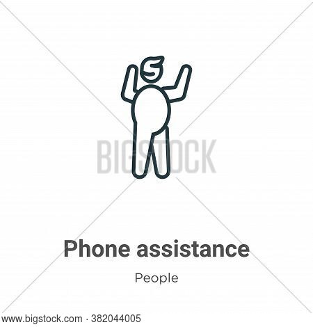 Phone assistance icon isolated on white background from people collection. Phone assistance icon tre