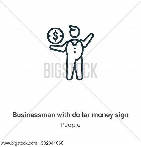 Businessman with dollar money sign icon isolated on white background from people collection. Busines