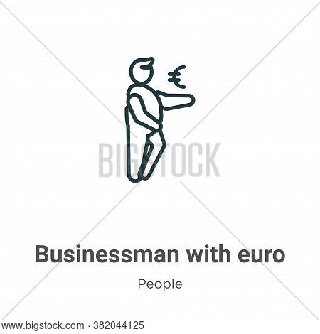 Businessman with euro currency sign icon isolated on white background from people collection. Busine