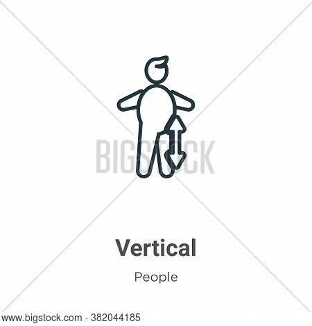 Vertical icon isolated on white background from people collection. Vertical icon trendy and modern V