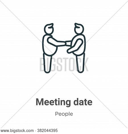 Meeting date icon isolated on white background from people collection. Meeting date icon trendy and