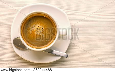 Hot Coffee Or Americano In White Cup On Beautiful Texture Of White Table, Space For Text. Top View I