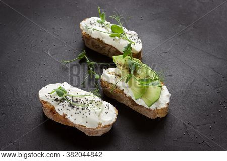 Healthy Sandwiches With Avocado , Cream Cheese And Micro Green. Vegan Sandwiches, Vegan Food, Health