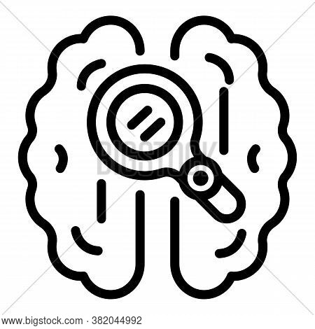 Magnifying Brain Icon. Outline Magnifying Brain Vector Icon For Web Design Isolated On White Backgro