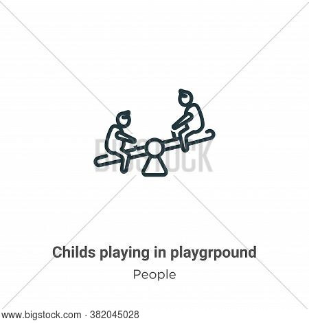 Childs playing in playgrpound icon isolated on white background from people collection. Childs playi