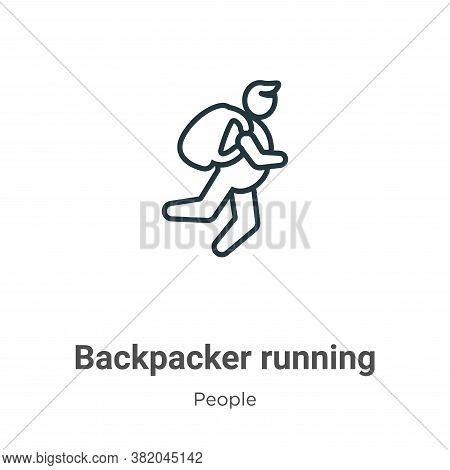 Backpacker running icon isolated on white background from people collection. Backpacker running icon