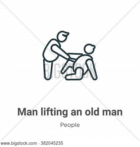 Man lifting an old man icon isolated on white background from people collection. Man lifting an old