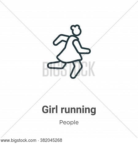 Girl running icon isolated on white background from people collection. Girl running icon trendy and