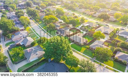 Bird Eye View Clean And Peaceful Neighborhood Streets With Row Of Single Family Homes Near Dallas, T