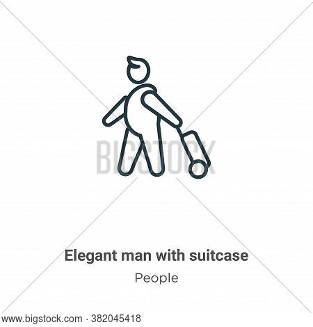Elegant man with suitcase icon isolated on white background from people collection. Elegant man with