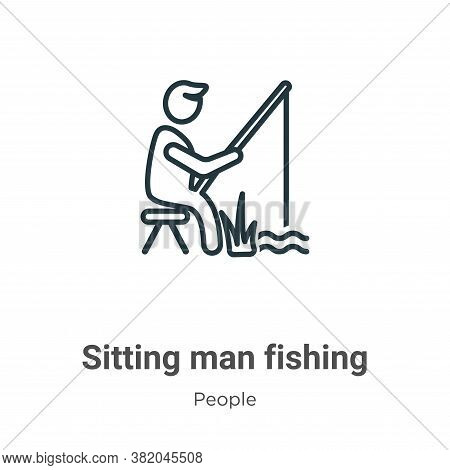 Sitting man fishing icon isolated on white background from people collection. Sitting man fishing ic