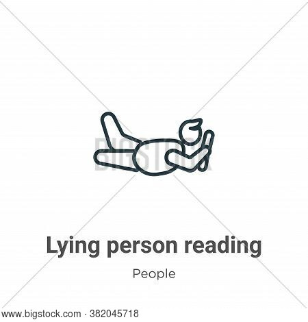 Lying person reading icon isolated on white background from people collection. Lying person reading