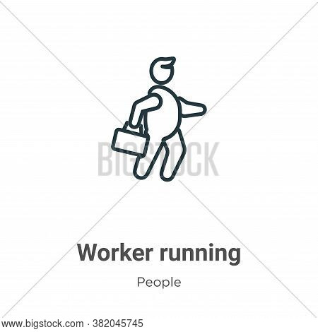 Worker running icon isolated on white background from people collection. Worker running icon trendy