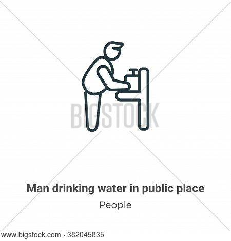 Man drinking water in public place icon isolated on white background from people collection. Man dri